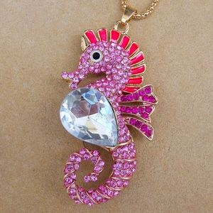 Jewelry - Pink Rhinestone Jewel Seahorse Summer Necklace